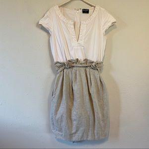 BCBG White Beige Paper Bag Tie Waist Dress Small